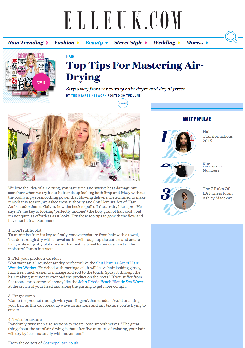Top Tips For Mastering Air Drying   Fashion  Trends  Beauty Tips   Celebrity Style Magazine   ELLE UK