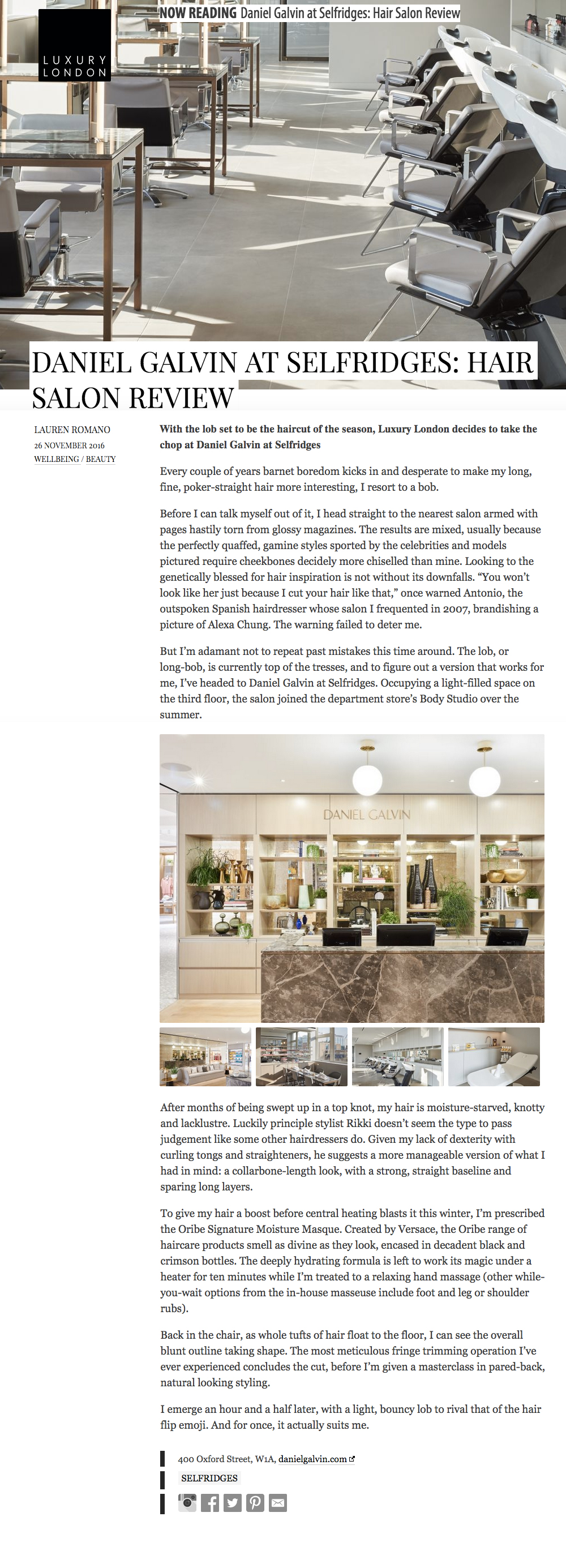 luxury london selfridges salon review