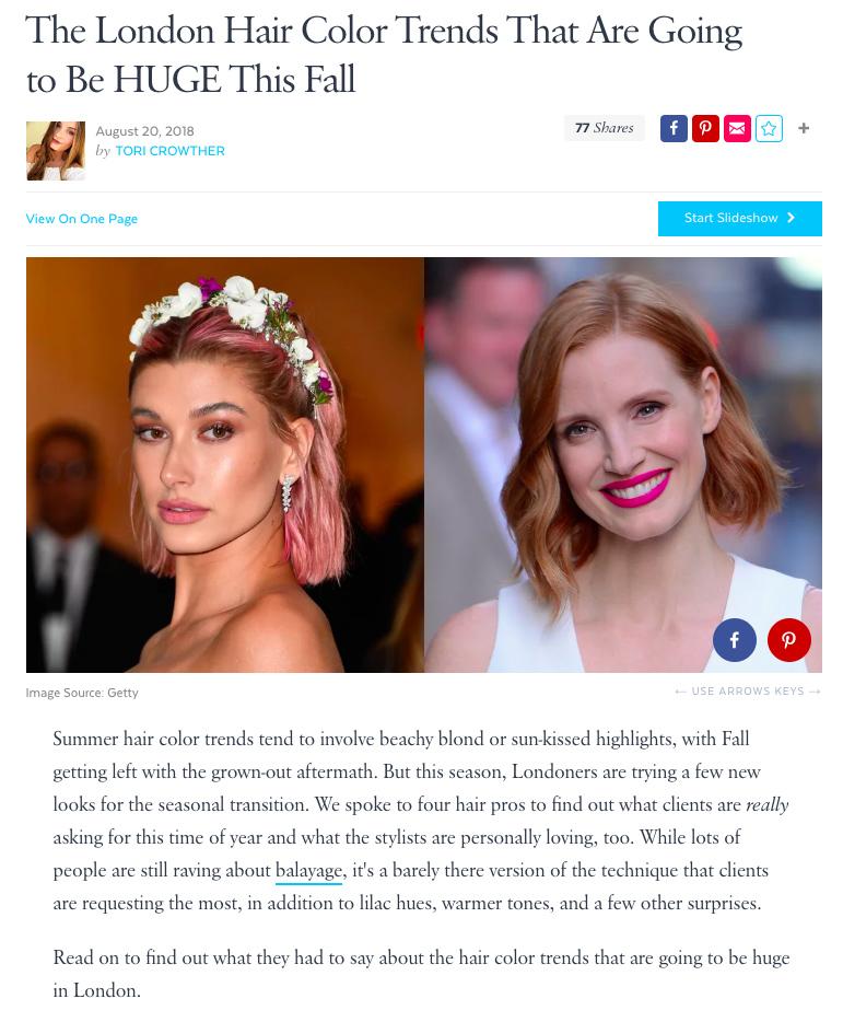 pop sugar london hair colour trends