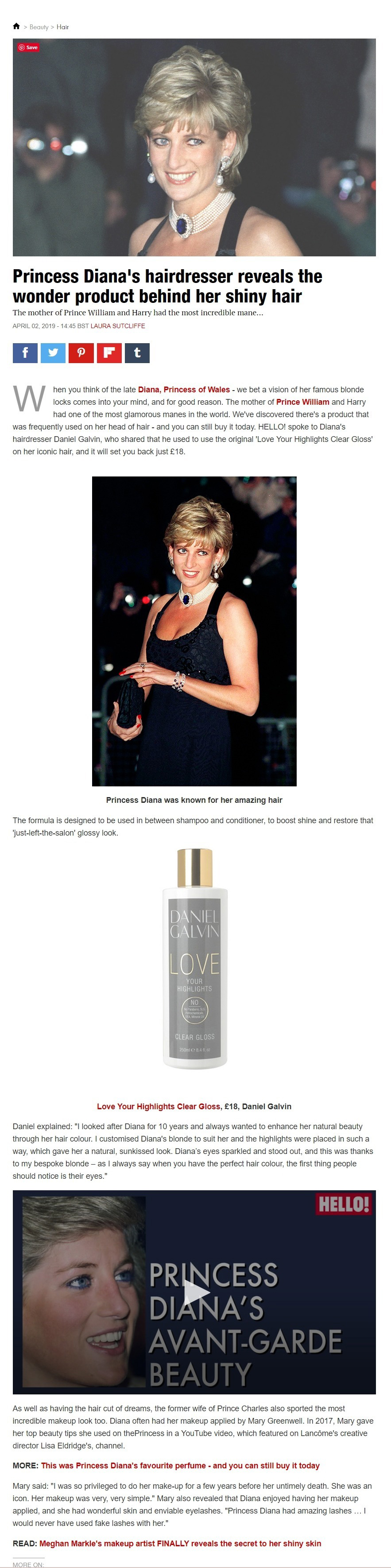 hello magazine princess diana hair product revealed